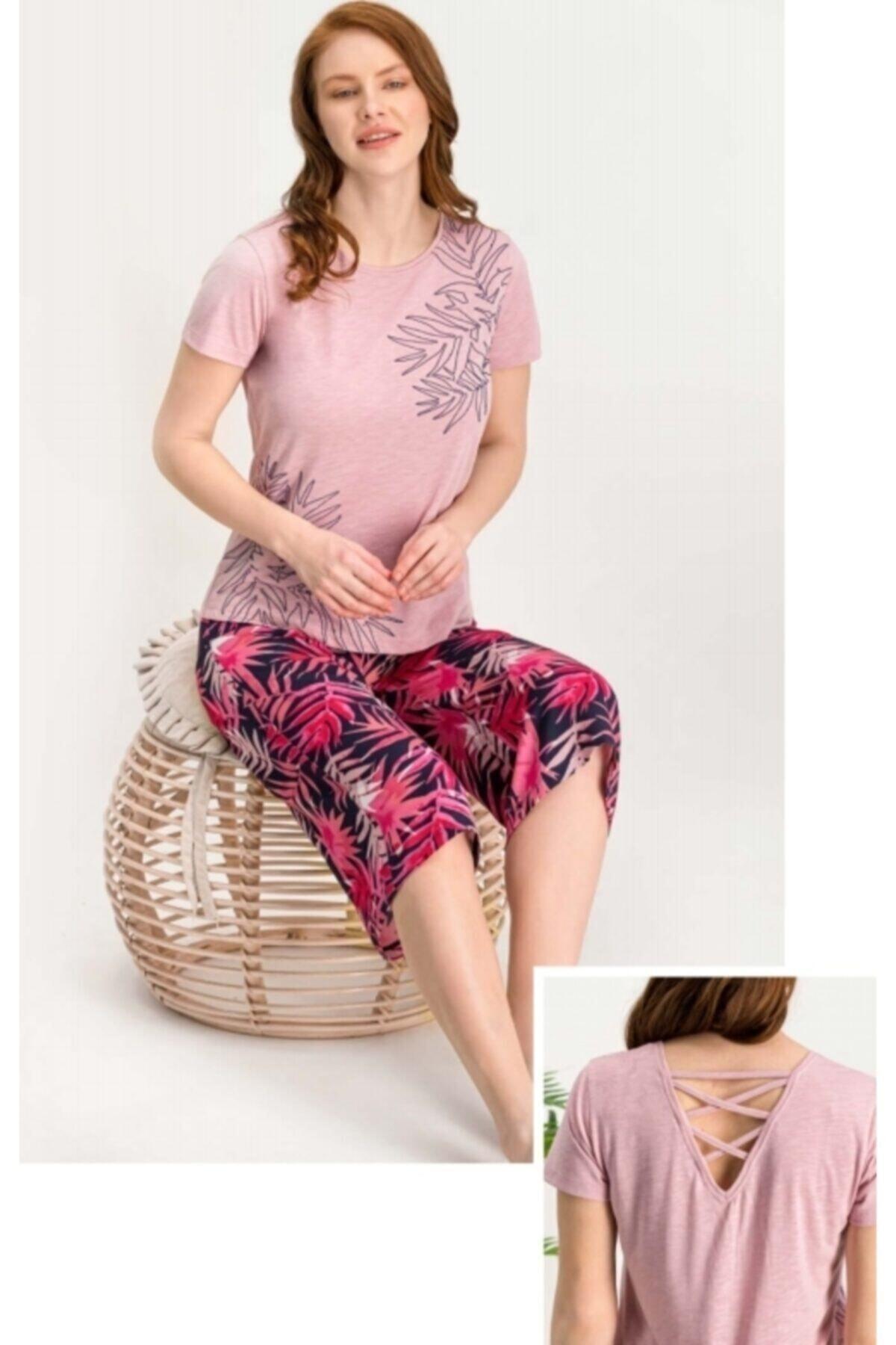 Arnetta Kadın Pembe Kaprili Pijama Takım 708 1