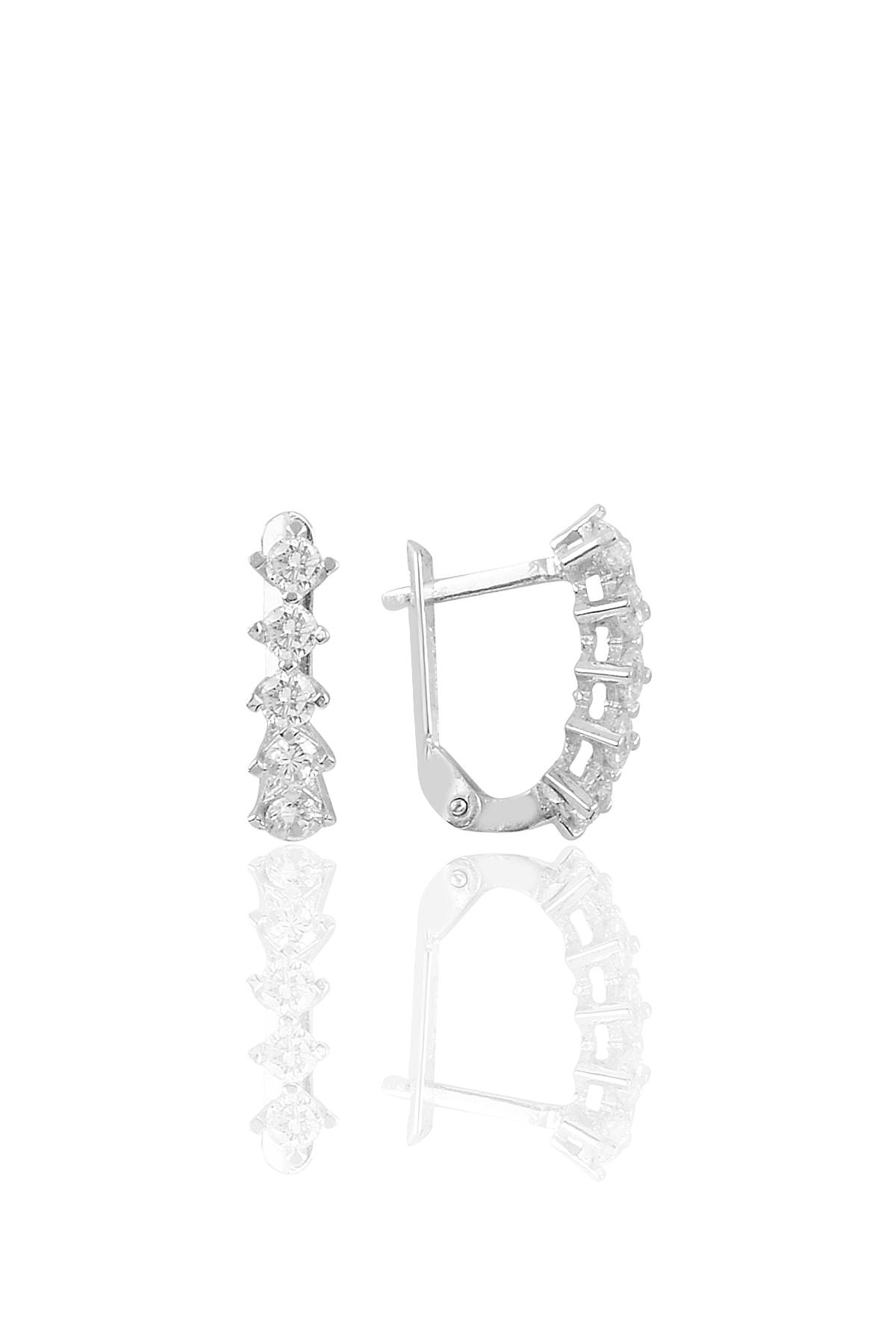 Söğütlü Silver Gümüş Rodyumlu Zirkon Taşlı Beştaş J Küpe 1