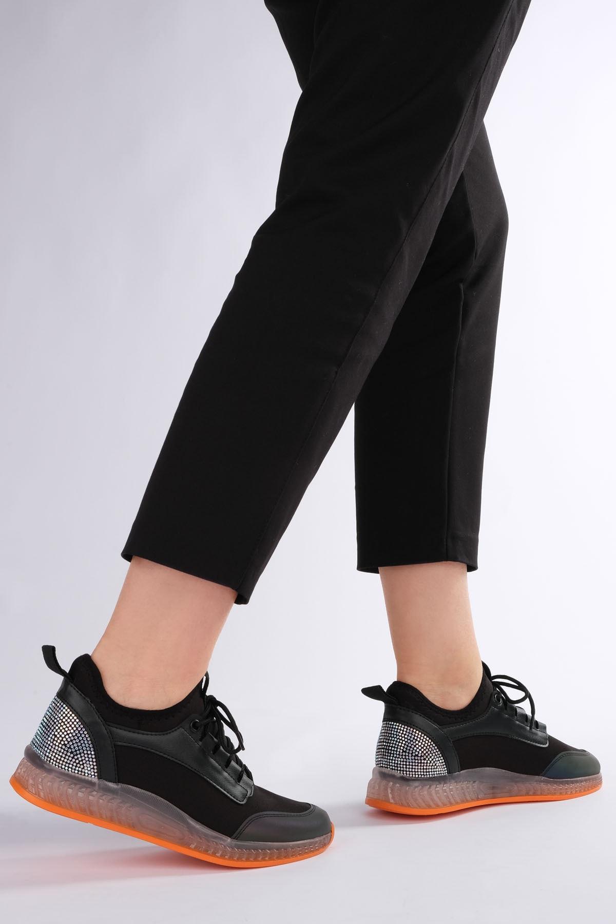 Marjin Kadın Siyah Streç Sneaker Spor Ayakkabı Cunka 2