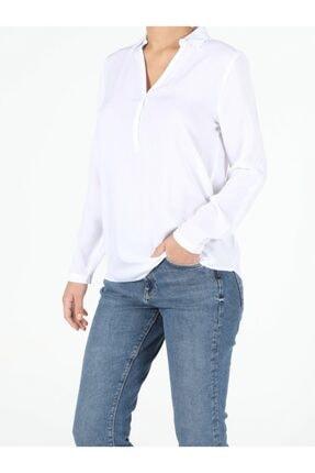 Colin's KADIN Regular Fit Shirt Neck Kadın Beyaz Uzun Kol Gömlek CL1047876