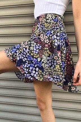 Mossta Kadın Mor Çiçek Desen Şort Etek
