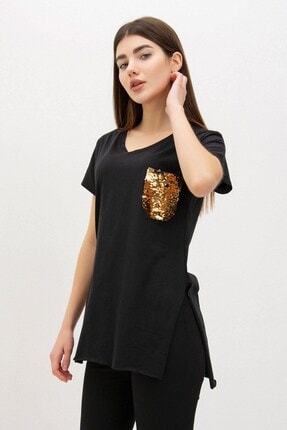 Mossta Kadın Siyah Pul Cepli V Yaka T-shirt