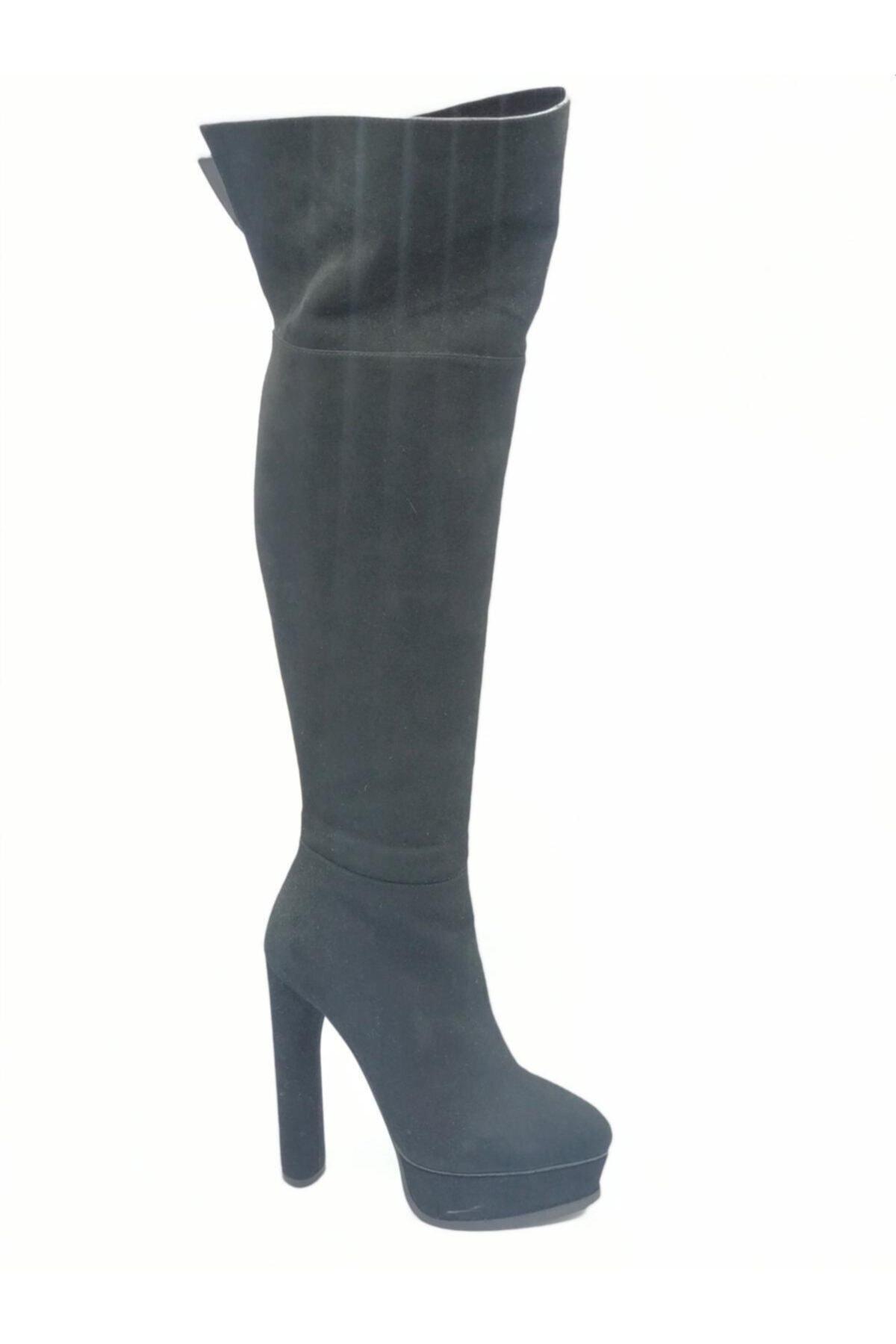 Flower Kadın Siyah Süet İnce Topuklu Çizme 1