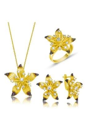 Gumush Kadın Sarı Çiçek Gümüş Set