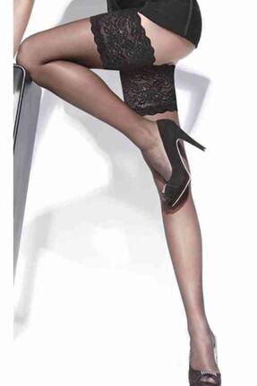 Imoda Kadın Siyah Dantelli Ve Silikonlu Jartiyer Çorabı