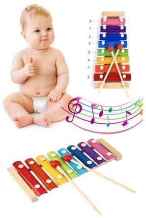 Hyd Ksilofon Bebek Ahşap Müzik Aleti 8 Nota 8 Ton 8 Tuşlu Oyuncak Selefon
