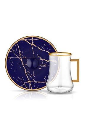 Koleksiyon1 Koleksiyon Dervish Kulplu Mermer Kobalt 6 Lı Çay Seti