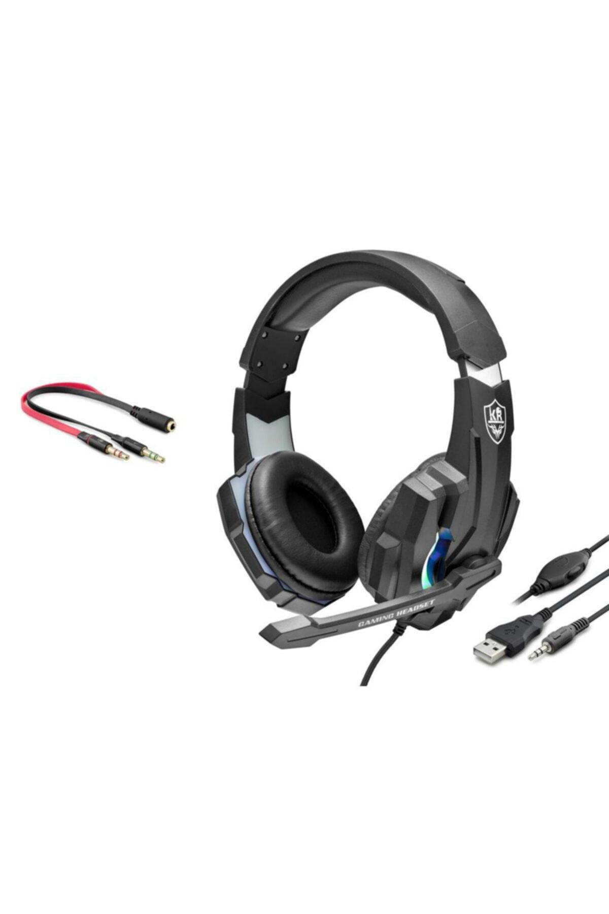 OWWOTECH Karler Bass Profesyonel Oyuncu Kulaklığı Rgb Kablolu Işıklı Mikrofonlu Kulaklık M 448 2