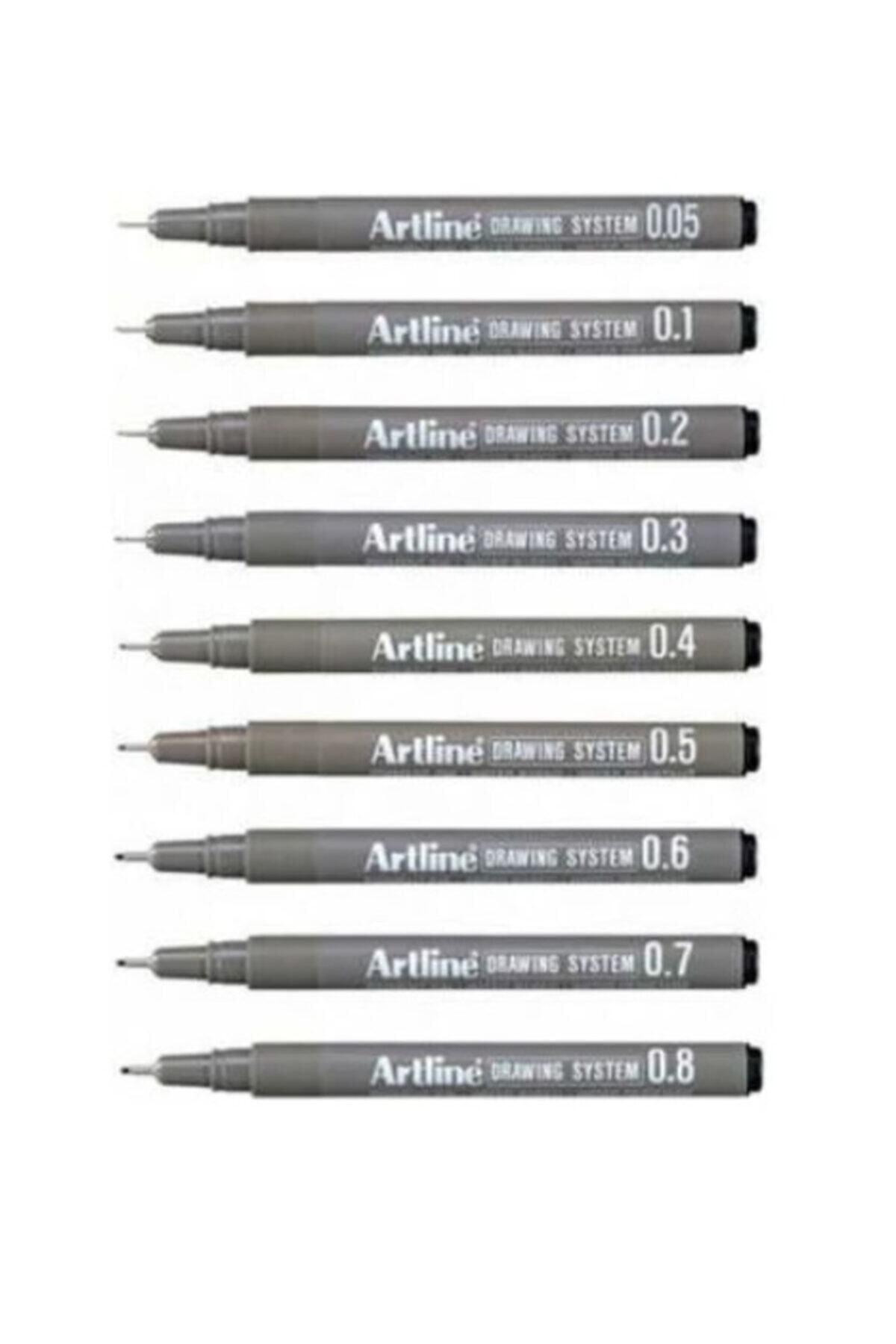artline Drawing System Teknik Çizim Kalemi 9'li Tam Set -1 1