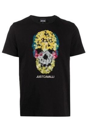 Just Cavalli Erkek Siyah Skull Print T-shirt