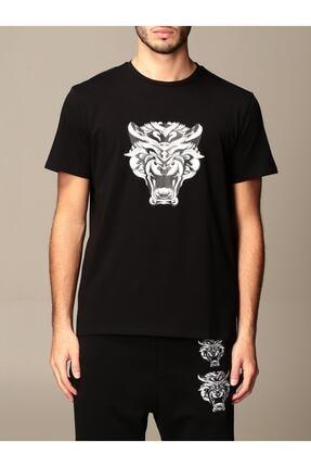 Just Cavalli Erkek Syah Big Tiger Logo T-Shirt