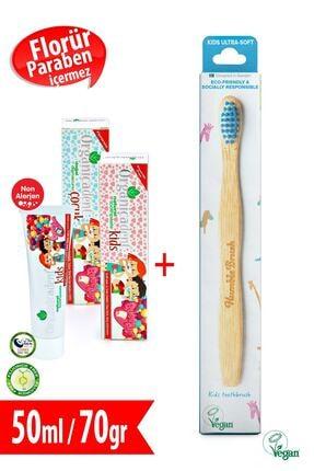 Organicadent Florürsüz Doğal Çocuk Diş Macunu 50Ml + Humble Brush Kids M Organik Diş Fırçası Hediye