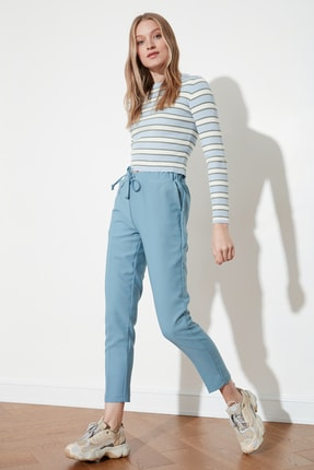 TRENDYOLMİLLA Mavi Bağlama Detaylı Pantolon TWOSS19ST0212