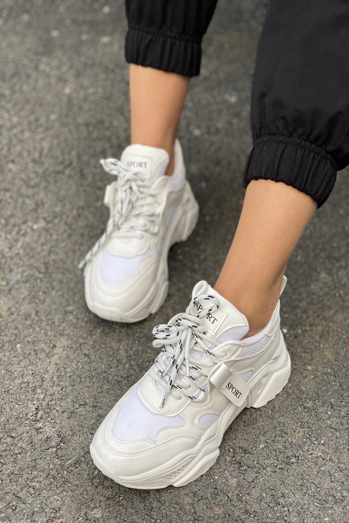İnan Ayakkabı Kadın Beyaz Bağcıklı Sneaker 2