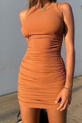 boutiquen Kadın Kahverengi Yanı Büzgülü Mini Elbise