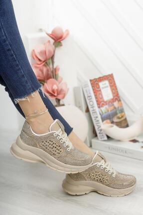 MORENİCA Kadın Aleza Taşlı Gold Spor Ayakkabı