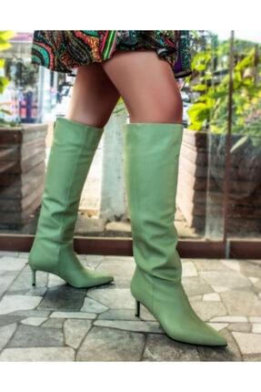 Sibel Durmaz Zarina Mint Yeşili Mat Deri Sivri Burun Çizme