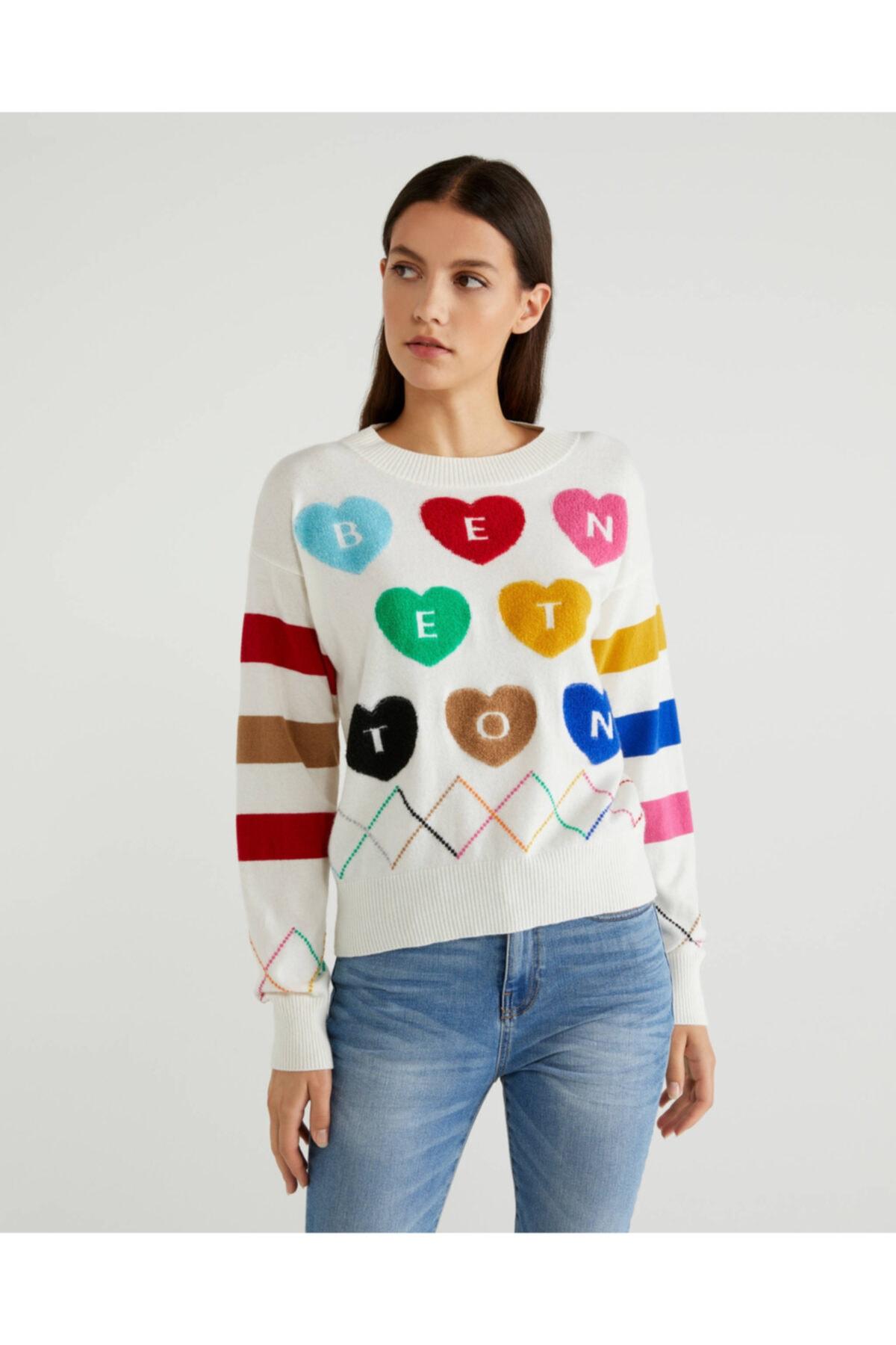United Colors of Benetton Kadın Beyaz Kalp Nakışlı Kazak 1