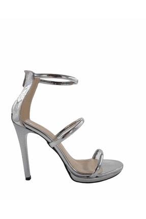 Gess Kadın Gümüş Ayna İnce Topuklu Üç Bantlı Abiye Ayakkabı