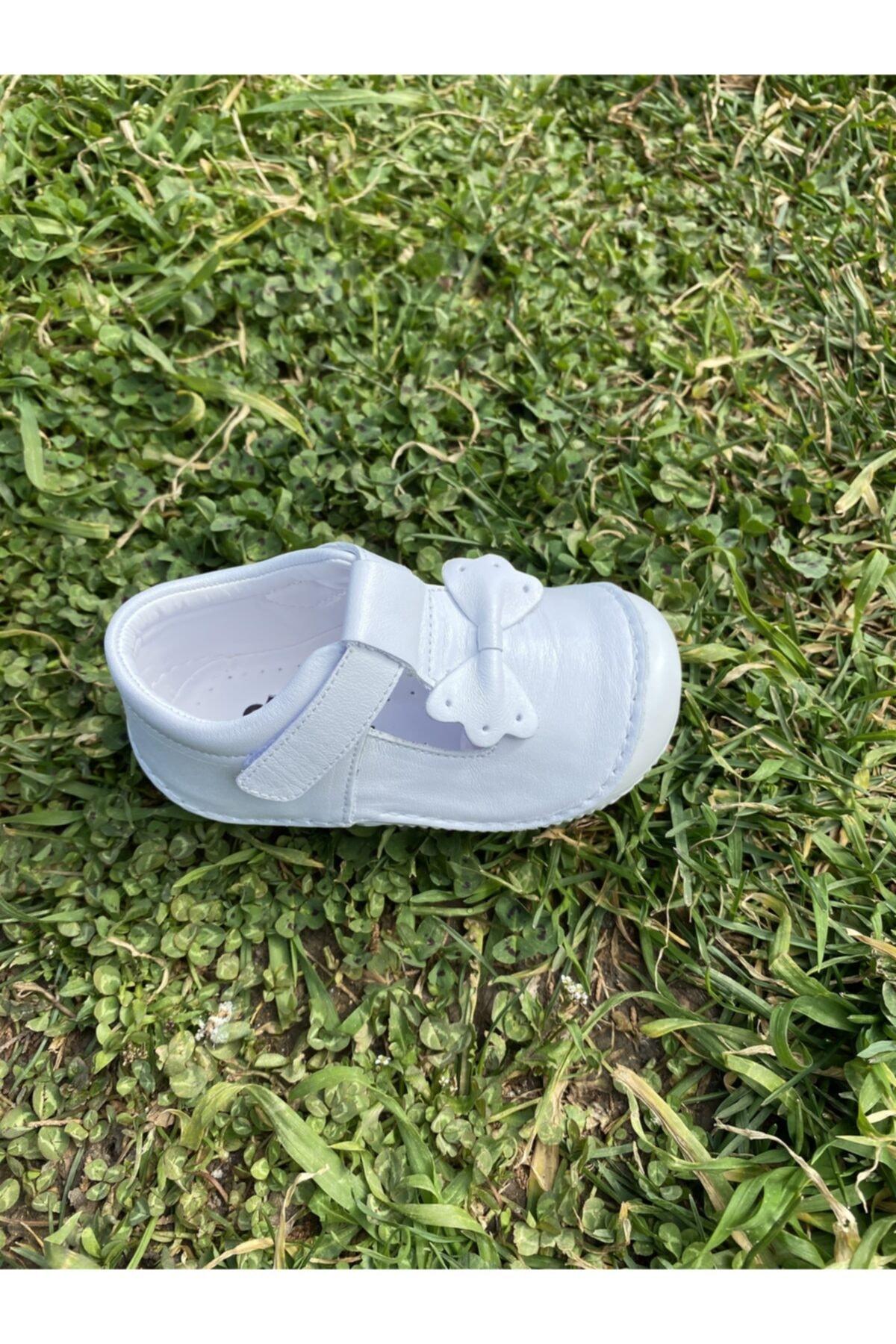 Doğbebe Kız Bebek Beyaz Deri Ortopedik Ilk Adım Ayakkabısı 1