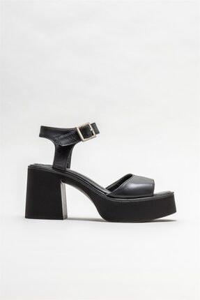 Elle Shoes Kadın Siyah Deri Topuklu Sandalet