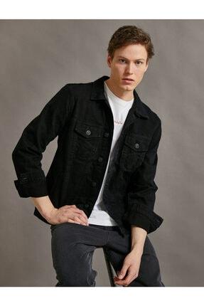 Koton Erkek Siyah Cepli Jean Ceket