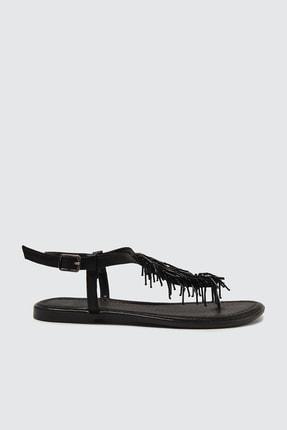 TRENDYOL SHOES Siyah Boncuklu Kadın Sandalet TAKSS21SD0003