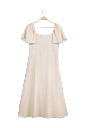 MANGO Woman Kadın Ekrü Elbise 53010920