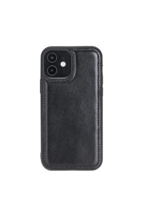 PLM Fxc Deri Telefon Kılıfı Iphone 12 Rst1 Siyah