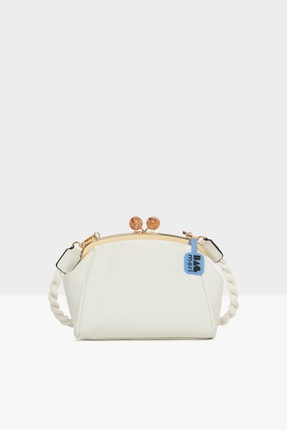 Bagmori Beyaz Kadın Örgü Askılı Burslu Klasik Çanta M000005732