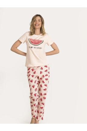 NBB Kadın Somon Karpuzlu Pijama Takımı 67149