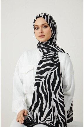 Modakaşmir Kadın Siyah Beyaz Zebra Desenli Şal