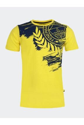 Fenerbahçe Erkek Sarı Kolej Omuz Yarım Çelenk Logo T-Shirt