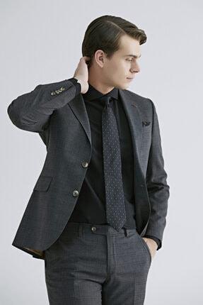 D'S Damat Erkek Gri Slim Fit Antrasit Armürlü Takım Elbise