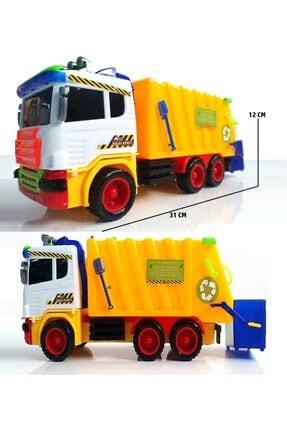 OYUNCAKSAHİLİ Çöp Kamyonu Büyük Kırılmaz Oyuncak Çöp Kovalı Temizlik Aracı 31cm