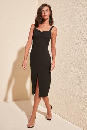 TRENDYOLMİLLA Siyah Yırtmaçlı Elbise TWOSS19BB0216
