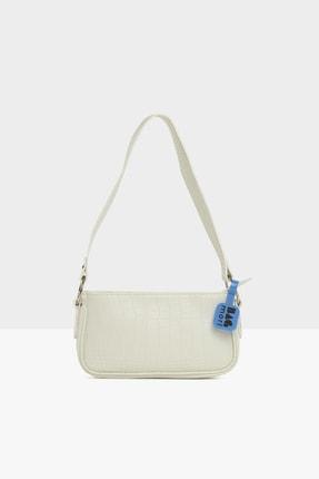 Bagmori Beyaz Kadın Halka Detaylı Kroko Baget M000005681