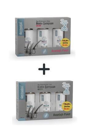 Dermoskin Biotin Şampuan Saç Bakımı Dökülmesi 3 Al 2 Öde Kofre Erkek + Kadın 200 Ml 2'li Avantaj Set