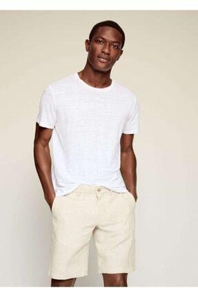 MANGO Man Erkek Beyaz Keten Tişört