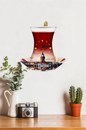 Sokaktaki Hediyem Galata Kulesi Temalı Bardak Sallanır Sarkaçlı Mutfak Duvar Saati