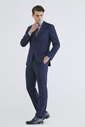 D'S Damat Erkek Lacivert Slim Fit Armürlü Takım Elbise