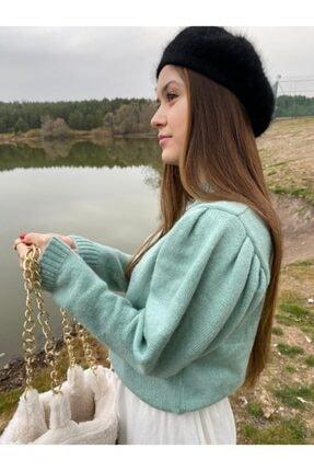 LUNA ATELİER Kadın Turkuaz Prenses Omuz Kazak