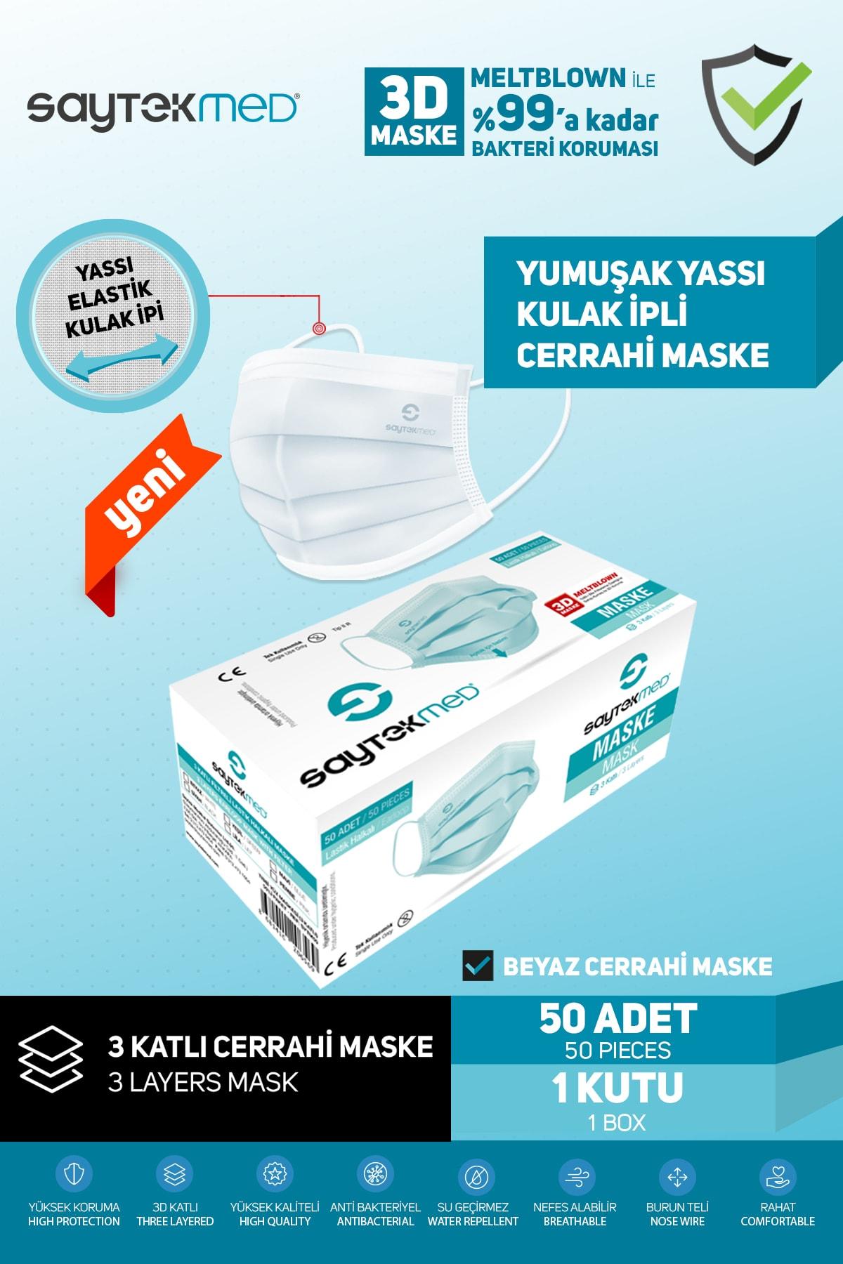 SAYTEKMED Meltblown Filtreli, Yassı Kulak Ipli, Beyaz Cerrahi Maske (50 Adet/1 Kutu) 2