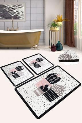 Chilai Home Three Cactus Djt 3 Lü Set Banyo Halısı Paspas Kaymaz Taban Yıkanabilir Klozet Takımı