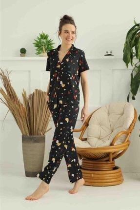 İPEKTENİM TEKSTİL Kadın Siyah Gömlek Pijama Takımı