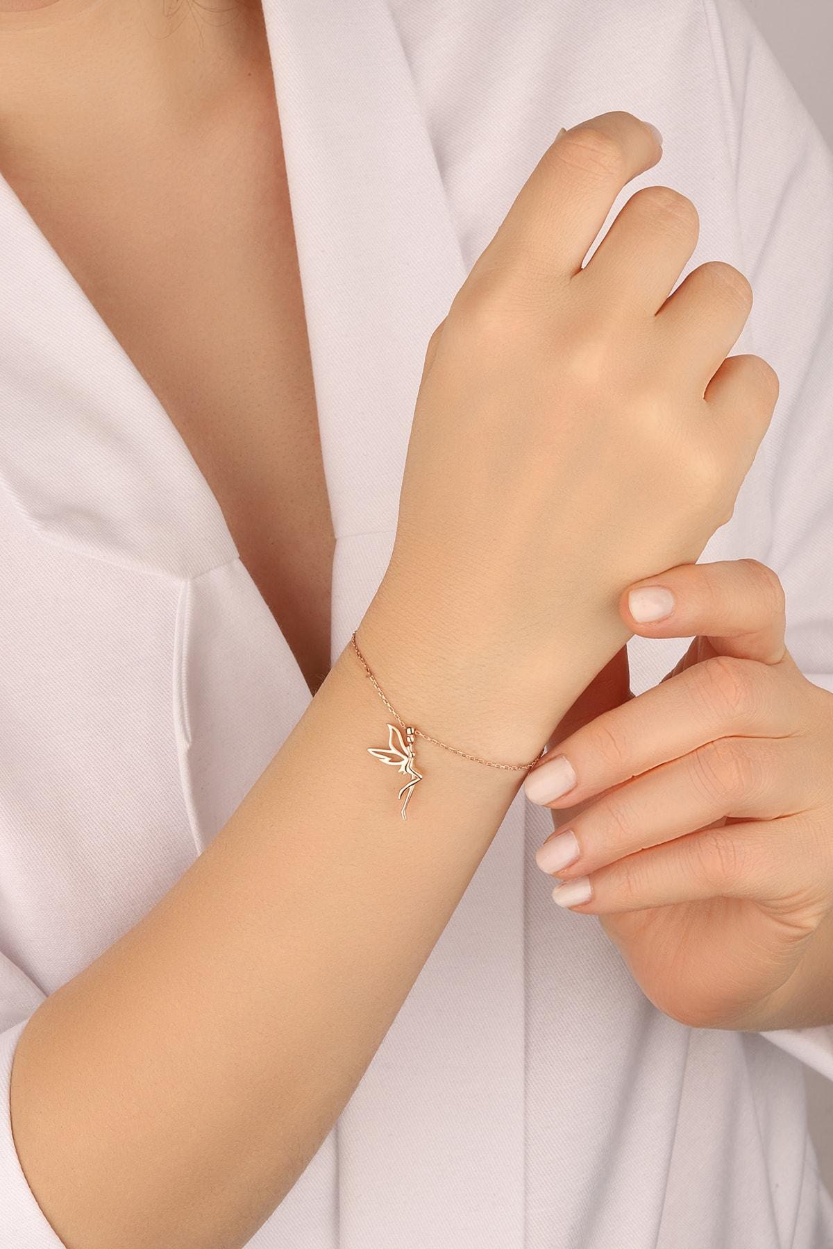 Lia Berto Kadın Rose Tinkerbell Su Perisi 925 Ayar Gümüş Bileklik 2