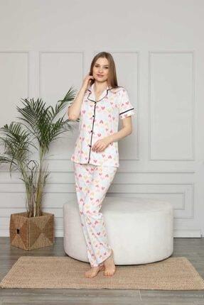 NACAR STORE Kadın Beyaz Kalp Desenli Kısa Kol Düğmeli Pijama Takımı