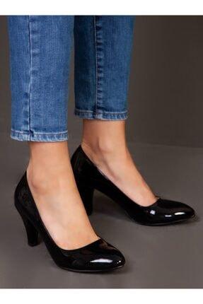 ayakkabıhavuzu Kadın Siyah Rugan Topuklu Ayakkabı