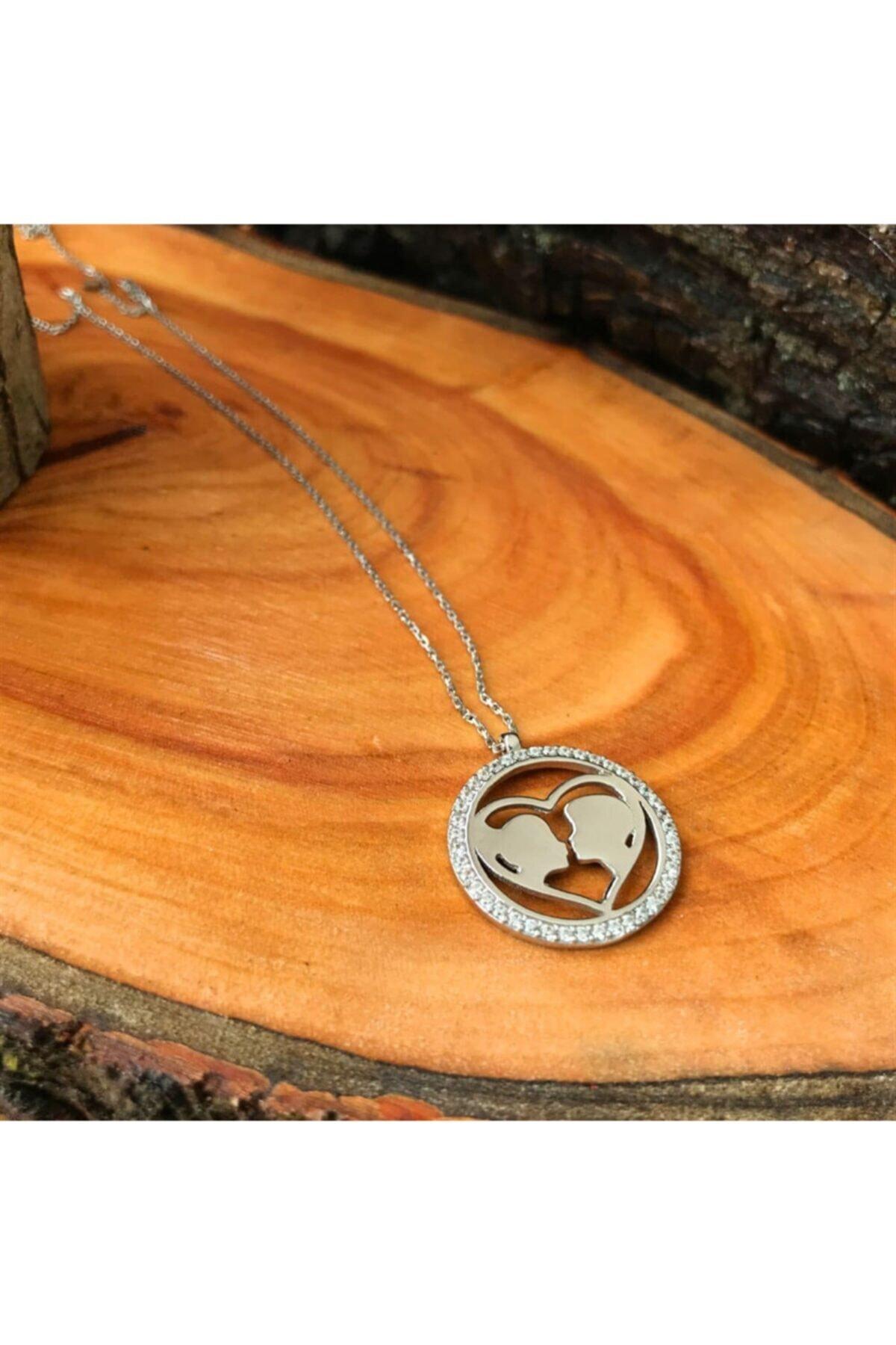 Silverplus Kadın Zirkon Taşlı Kalp Sevgililer Gümüş Kolye AG1296 1