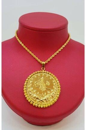 AltınAlalım Tuğra Motifli Dorika Çerçeveli Altın Kolye